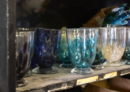 Tada! The studio work room is full of great glass art