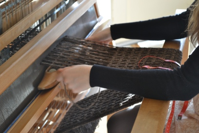 I saw other crafts being made, like a blanket. My friend uses a machine called a LOOM to make a nice warm blanket.