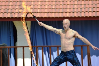 Adam Crack is not afraid of fire...but he's also not as furry as me